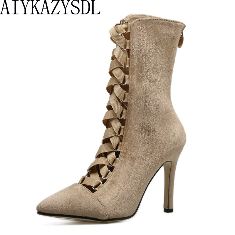 купить AIYKAZYSDL Sexy Gladiator Roman Shoes Bootie Women Ankle Boots Faux Suede Cross Strap Cut Out High Heel Pointy Toe Pumps Woman онлайн