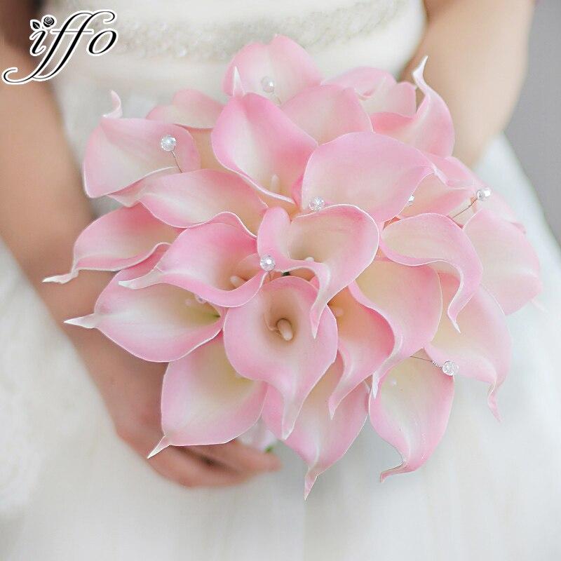 Иффо Творческий невесты с цветами в руках пользовательские моделирования розовый Калла Лили Свадебный букет простой подружек невесты Свад...
