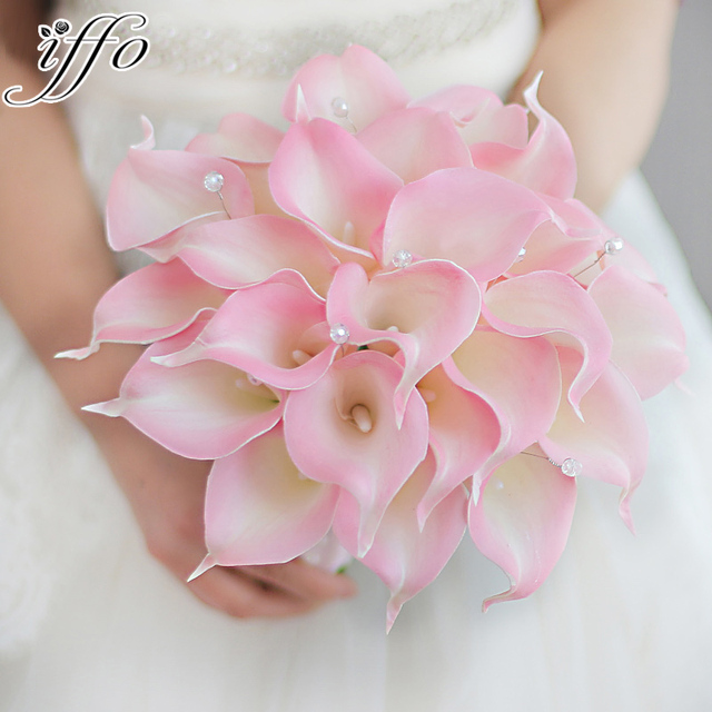 IFFO creative bride holding flowers custom simulation pink calla ...