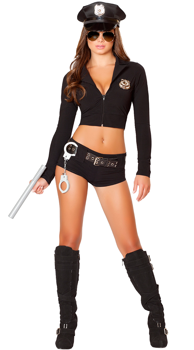 7105 ...  sc 1 st  AliExpress.com & Black Long Sleeve Naughty Officer Cop Costume Halloween Policewomen ...