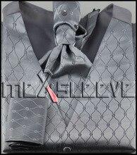 hot sale  new casual 4pcs tuxedo silver waistcoat (vest+cravat+handkerchief+cufflinks)