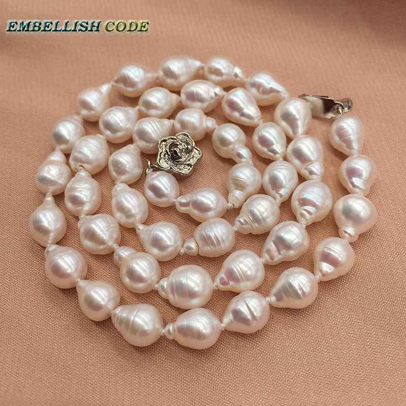 Good shiny small baroque tissue nucleated flame ball pearls white real natural freshwater pearl choker necklace screw thread