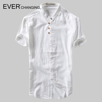 Summer Stand Up Short Sleeves Men Linen Chinese S Solid Color Thin Section Sale New Clothes