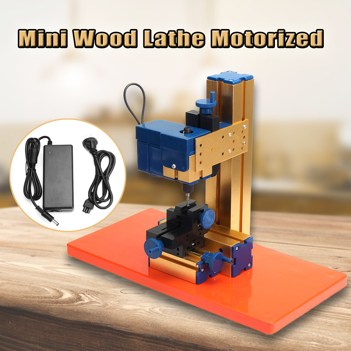 24W DC 12V 2A Mini Motorized Wood Lathe Woodworking Milling Machine Hobby DIY Woodworking Tool