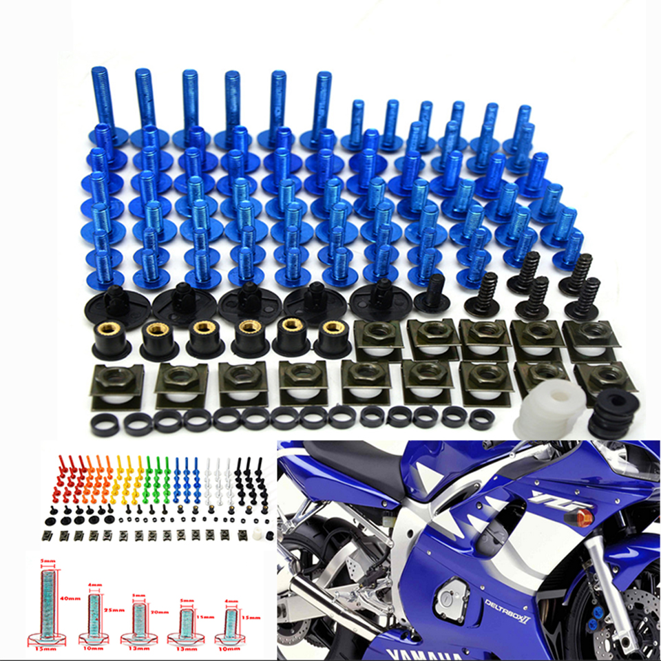 76 PCS Universal Motorcycle Fairing Body Bolts Spire Screw Spring Nuts FOR SUZUKI GSX650F GSX-S1000 Katana 600 750 C50 C90 C109R new universal 76 pcs set screw bolts nuts for disc brake rotors mountain bike
