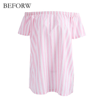 BEFORW Summer Refreshing Sweet Style Dress Vintage Stripe Pink Women Dress Loose Slash Neck Cute Dresses