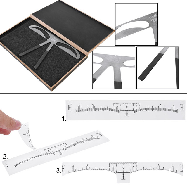 Eyebrow Sticker Stencil Ruler Kit Permanent Makeup Brow Beauty Cosmetic Shaping Grooming Measure Position Template Metal Ruler 5