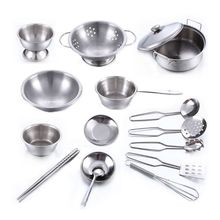 OOTDTY Stainless Steel Kids House Kitchen Toys Cooking Cookware Pots Pans Pretend Play Playset Utensils цена