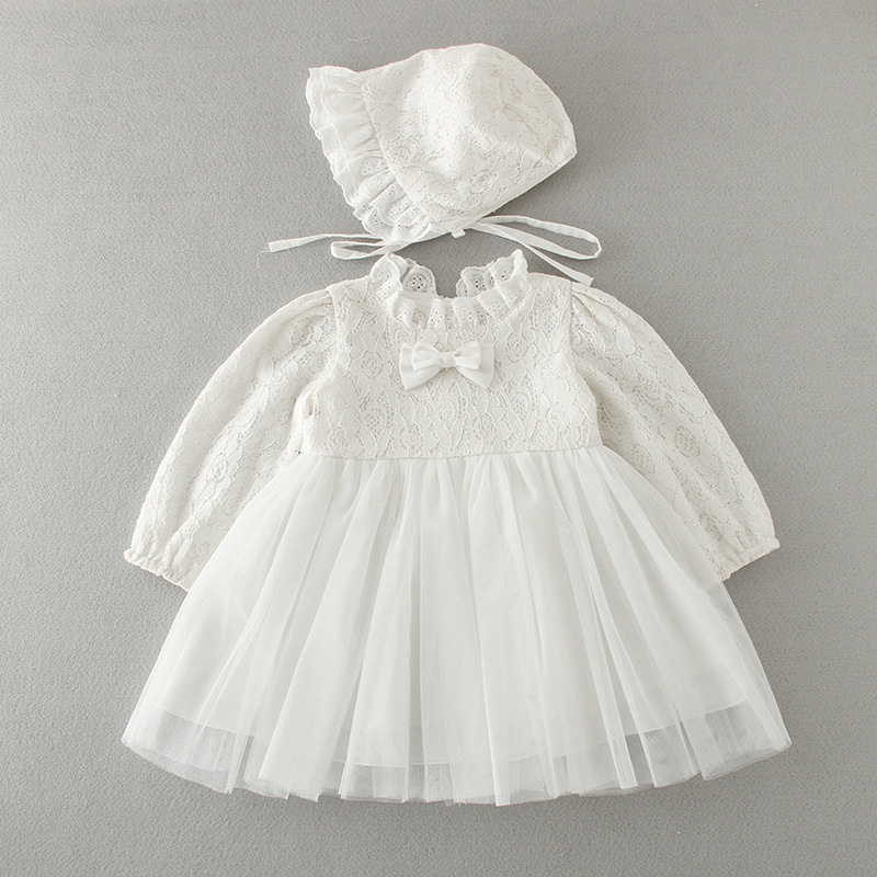 2Pcs/Set Baptism Gown Long Sleeve Newborn Baby Christening Dress Bonnet Hat Embroidered Lace Frocks A015 bebe Vestidos Robe