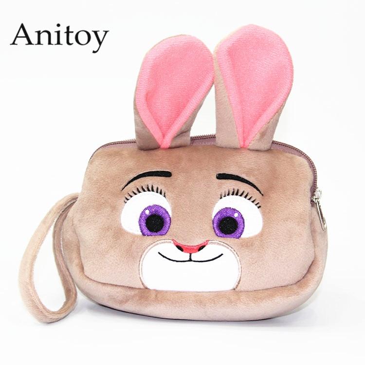 Cartoon Zootopia Fox Nick Rabbit Judy Plush Makeup Bag Wallet Soft