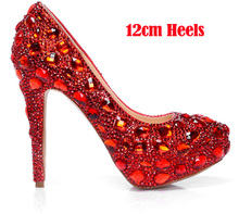 2016 Spring Sparkling Red Crystal Genuine Leather Bridal Shoes Lovely Wedding Shoes Platforms  Dancing Ball Party Prom Pumps