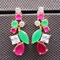 Fashion Classic Imitation Emerald&Ruby Zircon Drop Champagne Gold Plated Stud Earring For Women