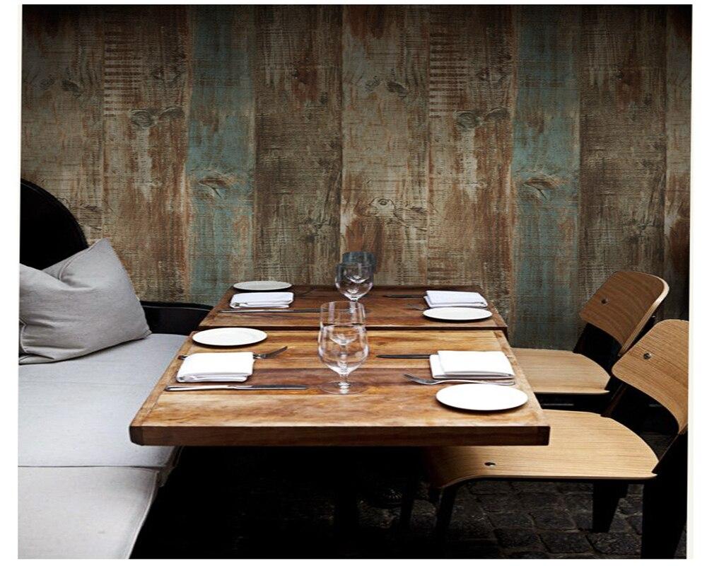 beibehang wallpaper nostlgico retro imitacin de madera papel pintado a rayas bar cafetera tienda de ropa de casa llena