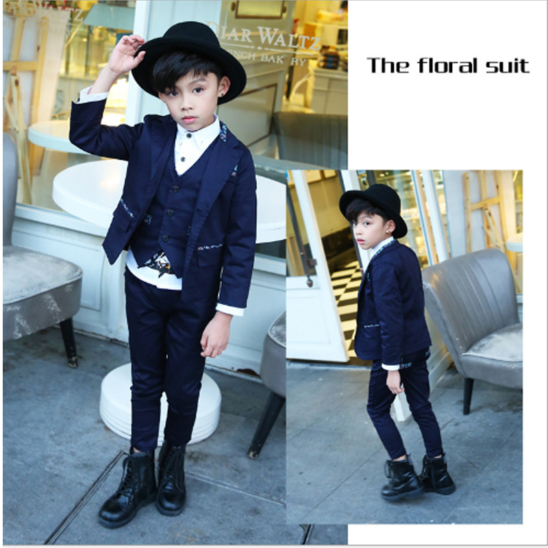 WENDYWU Blue Notched Suits & Blazer Suits  High Quality  New Fashion Baby Boys Kids Blazers Children Suit for Prom Formal 3sb003 2015 new arrive super league christmas outfit pajamas for boys kids children suit st 004