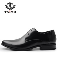 2016 New Arrive Top Classical Men Dress Flat Shoes Luxury Men S Business Oxfords Black Real