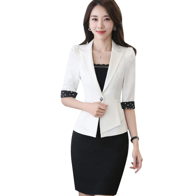 Work wear skirt suit spring fashion elegant slim Business women Half sleeve blazer with skirt office ladies plus size suits