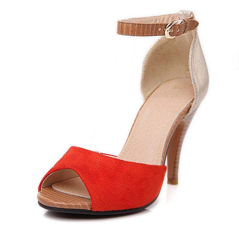 Karinluna orange Sexy Hauts Sandales apricot Chaussures Femme Patchwork 43 Femmes Bleu Grande Talons Taille Marque Nouvelle Cheville strap Parti D'été Gros b6Yy7vfg