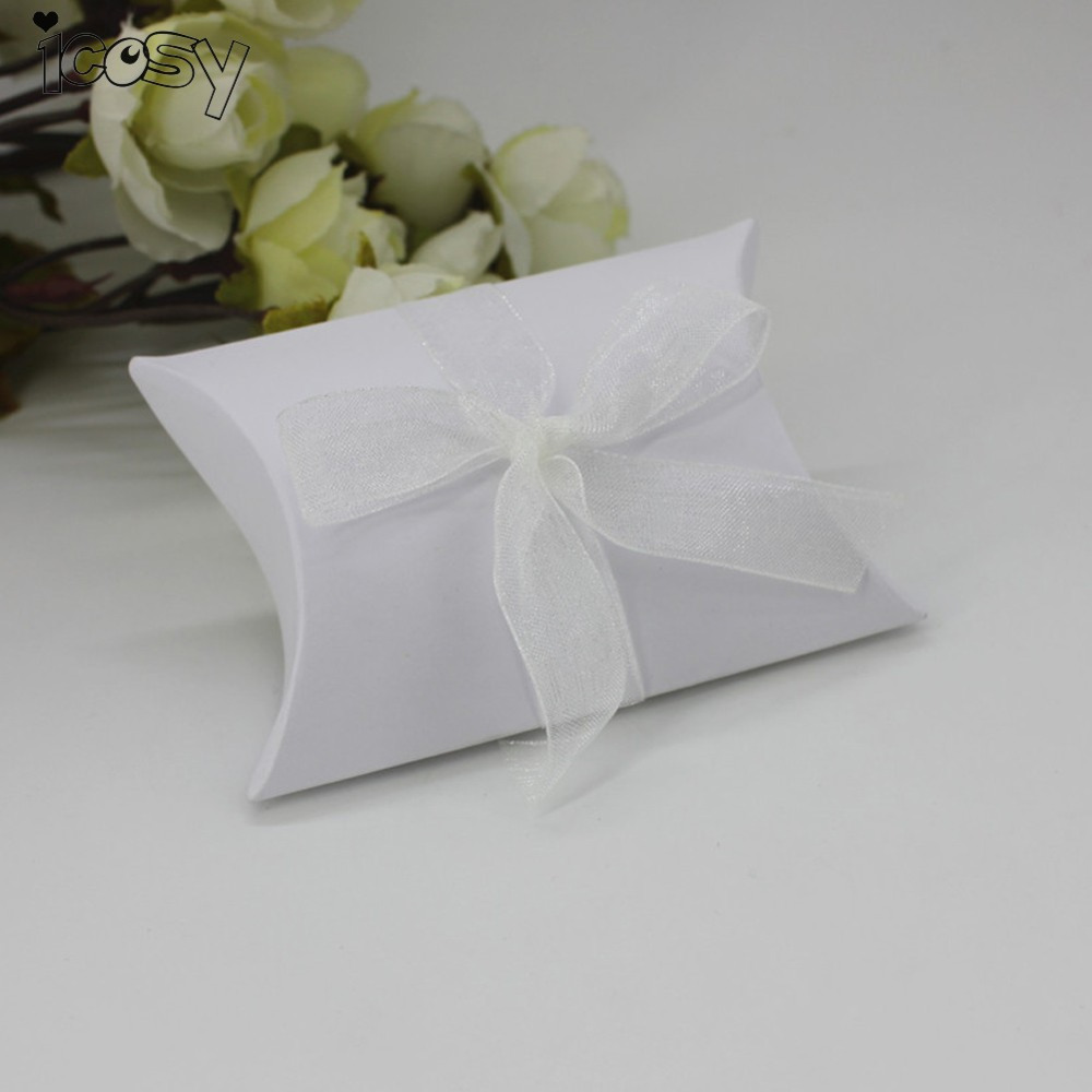 50Pcs/lot Pillow Box Wedding Favor Decoration Candy Box with Ribbon ...