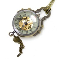 Vintage Roman Steampunk Necklace Mens Automatic Mechanical Round Ball Pocket Watch Relogio De Bolso