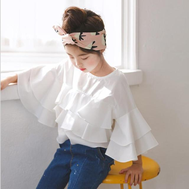 c3d93a25a7 2018 Primavera Verão Moda Infantil Roupa Da Criança Adolescente Menina Blusa  Branca Crianças Babados Meninas Blusas