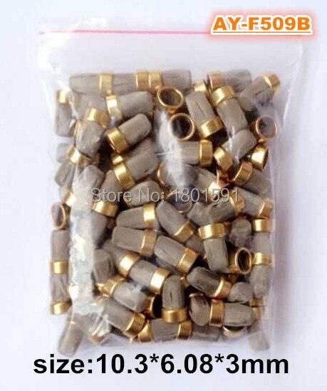 100 חתיכות דלק מזרק מתכת מסנן מיקרו מסנן 10.3*6.08*3mm עבור דלק Injector תיקון ערכות (AY-F509B)