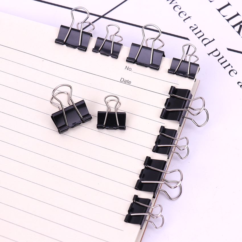 12PCS/Pack 15 19mm Black Metal Binder Clips Notes File Letter Paper Clip Photo Binding Stationery Accessories Office Supplies