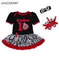 Claire Ladybug 1 Year Girl Baby Birthday Dress Headband Crib Shoe Girls Birthday Tutu Sets Ropa De Bebe New Born Infant Clothing