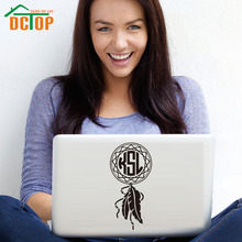 DCTOP Art Design Monogram Initials Feather Vinyl Wall Stickers Home Decor Self Adhesive Laptop Sticker Decorative