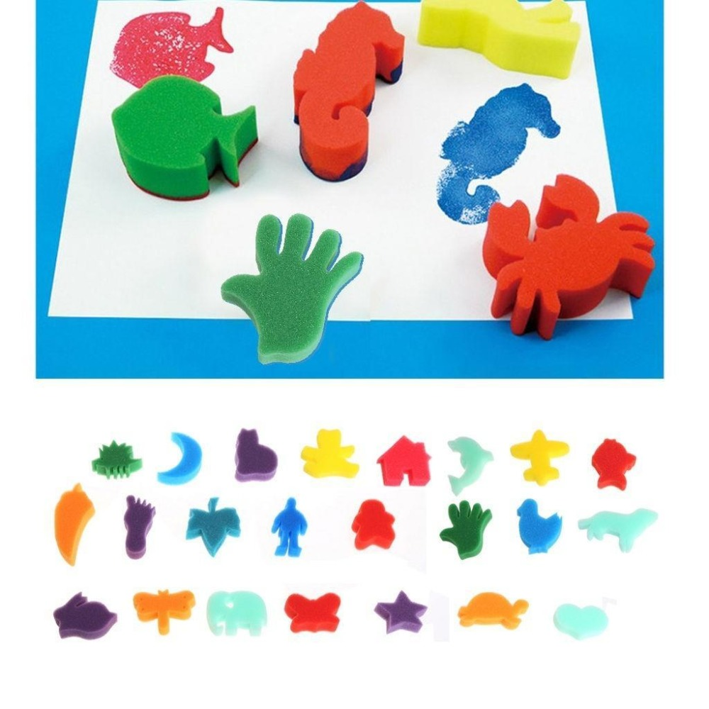 24pcs Sponge Children Kids Art Craft Painting Set Home Education School DIY Craft Toys