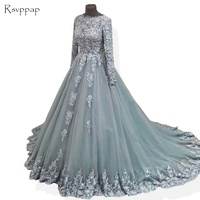 Long Evening Dress 2018 Gorgeous Long Sleeves Beaded Lace Arabic Style Light Blue Women Formal Evening Gowns robe de soiree