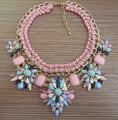 2016 nuevas mujeres magnífico Bijoux arco iris flor del Rhinestone de color rosa Collar de cristal de la cadena del babero del ahogador del Collar del Collar Maxi de la joyería