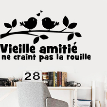 Cartoon French Pattern Phrase Vinyl Wallpaper Decor For Living Room Bedroom Removable Wall Sticker vinilo decorativo