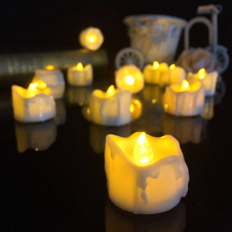 yellow flicker battery candles plastic electric candles flameless tea lights for christmas halloween wedding decoration - Halloween Light Bulbs