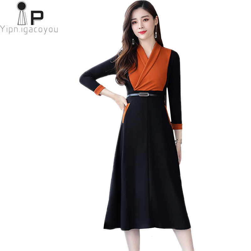 2018 Autumn New Women Dresses Winter Korean Elegant Plus Size Midi Dresses  Women Vintage Beach Dress Party Long Sleeve Dress