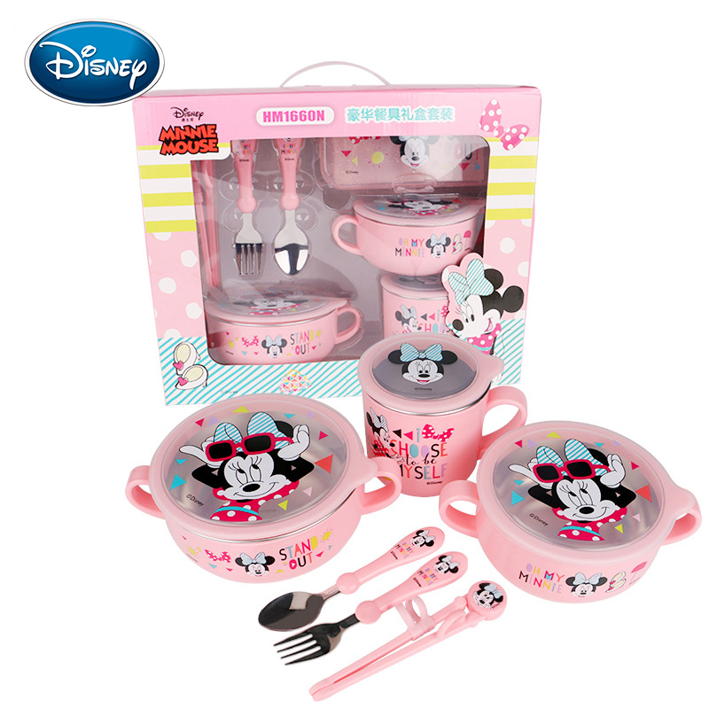 Disney Children's Cutlery Set Popular Cartoon Seven-piece Baby Food Supplement Plate Cup Activity Spoon Gift