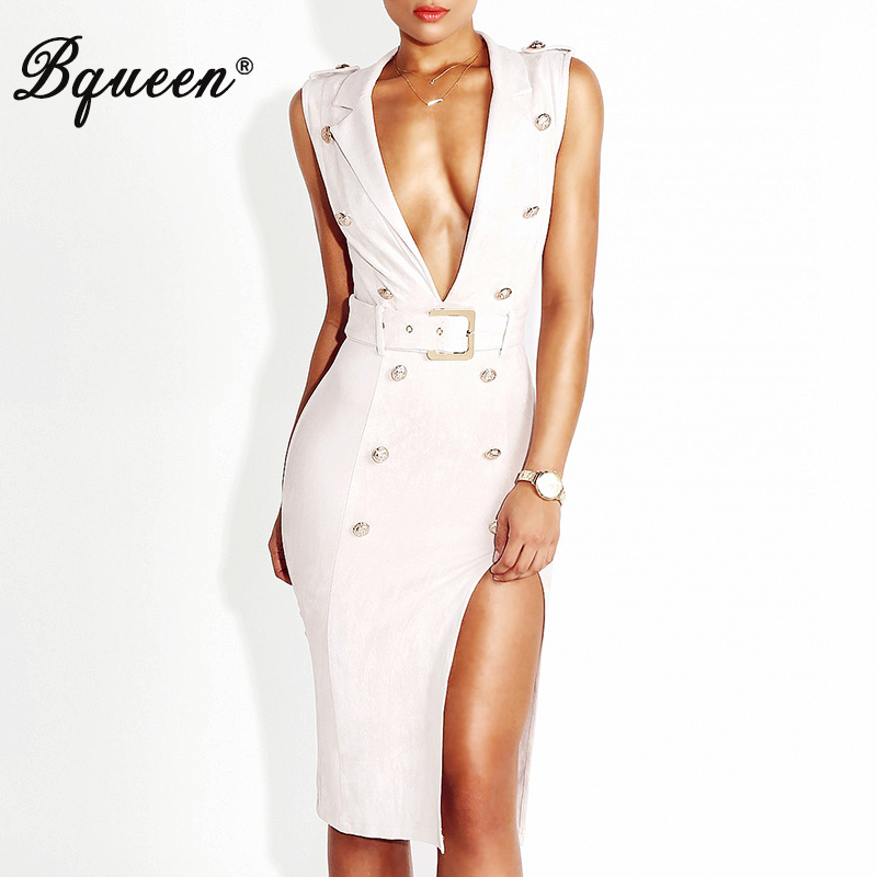 Bqueen Women S Deep V Button Belt Bodycon Party Dress Sexy Summer Dress Wholesale