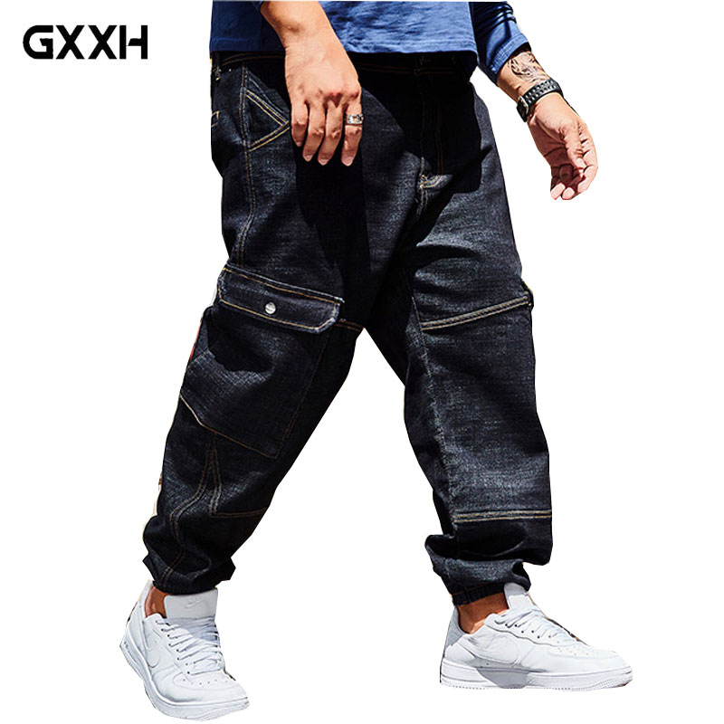 c71681bc53b Top Brand Mens Cargo Jeans Pants Hole Ripped Hip Hop Designer Baggy ...
