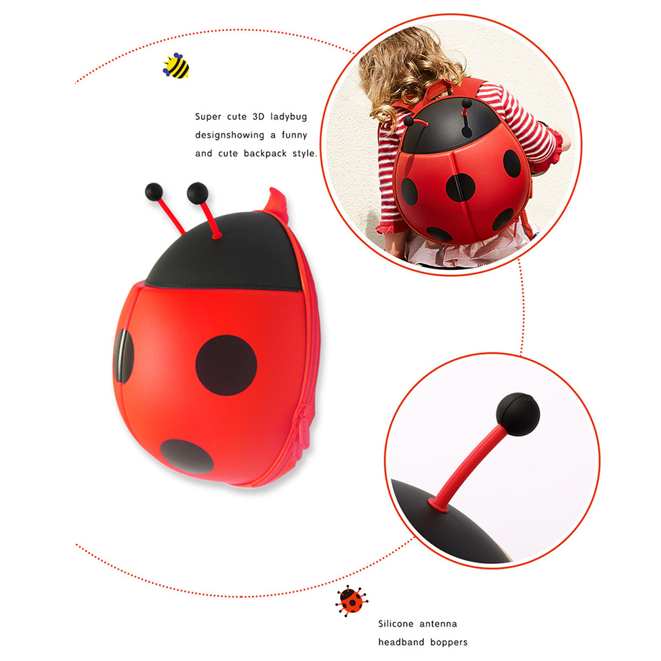 INT 39 G Cute Ladybird Plush Backpack Girls Boy Children 39 s Bag Ladybug Schoolbag Kids Toy Backpack For Child Gift Waterproof 28cm in Plush Backpacks from Toys amp Hobbies