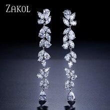 ZAKOL Luxury AAA Cubic Zirconia Gorgeous Flower Long Dangle Drop Earrings for Women Bridal Wedding Gift FSEP385