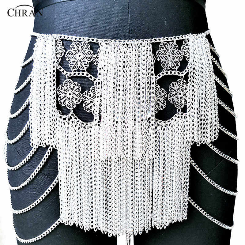 Chran Flower Chain Mini Skirt Disco Party Dress Beach Chainmail Cover Up Ibiza  Harness Necklace EDM bee1fc74e9c7