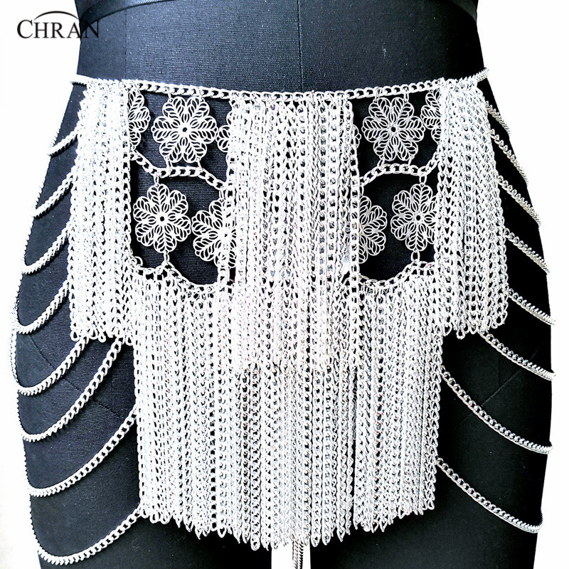 Chran Flower Chain Mini Skirt Disco Party Dress Beach Chainmail Cover Up Ibiza Harness Necklace EDM Festival Jewelry CRS224