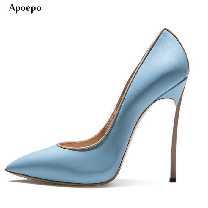 Apoepo Sexy Thin Heels Woman Pumps 2018 Pointed toe Leather high heel shoes Woman slip-on dress heels stiletto heels apoepo 2018 newest woman stilettos pumps sexy pointed toe slip on dress heels office lady thin heels shoes bling party shoes