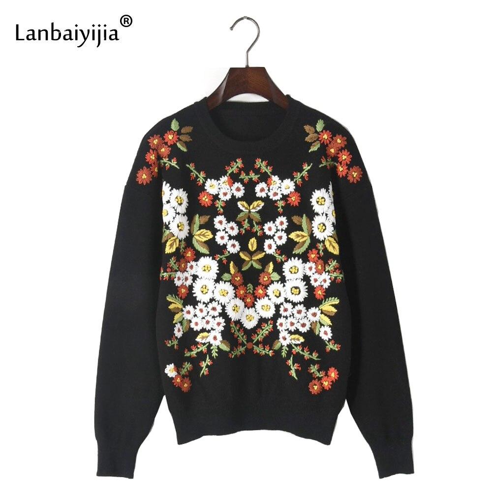 Lanbaiyijia Europe amérique broderie chaude chrysanthème marque de mode chandails femmes pulls pull hiver pull tricoté
