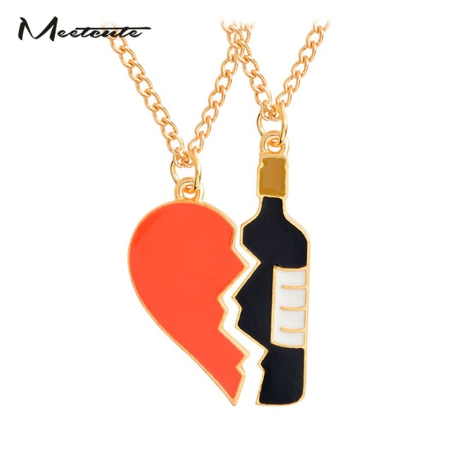 b570b969e63e6 US $1.86 |Meetcute 2Pcs/Set Heart And Wine Pendant Necklace Best Friend  Girlfriend Boyfriend Couple Jewelry Anniversary Gifts-in Pendant Necklaces  ...