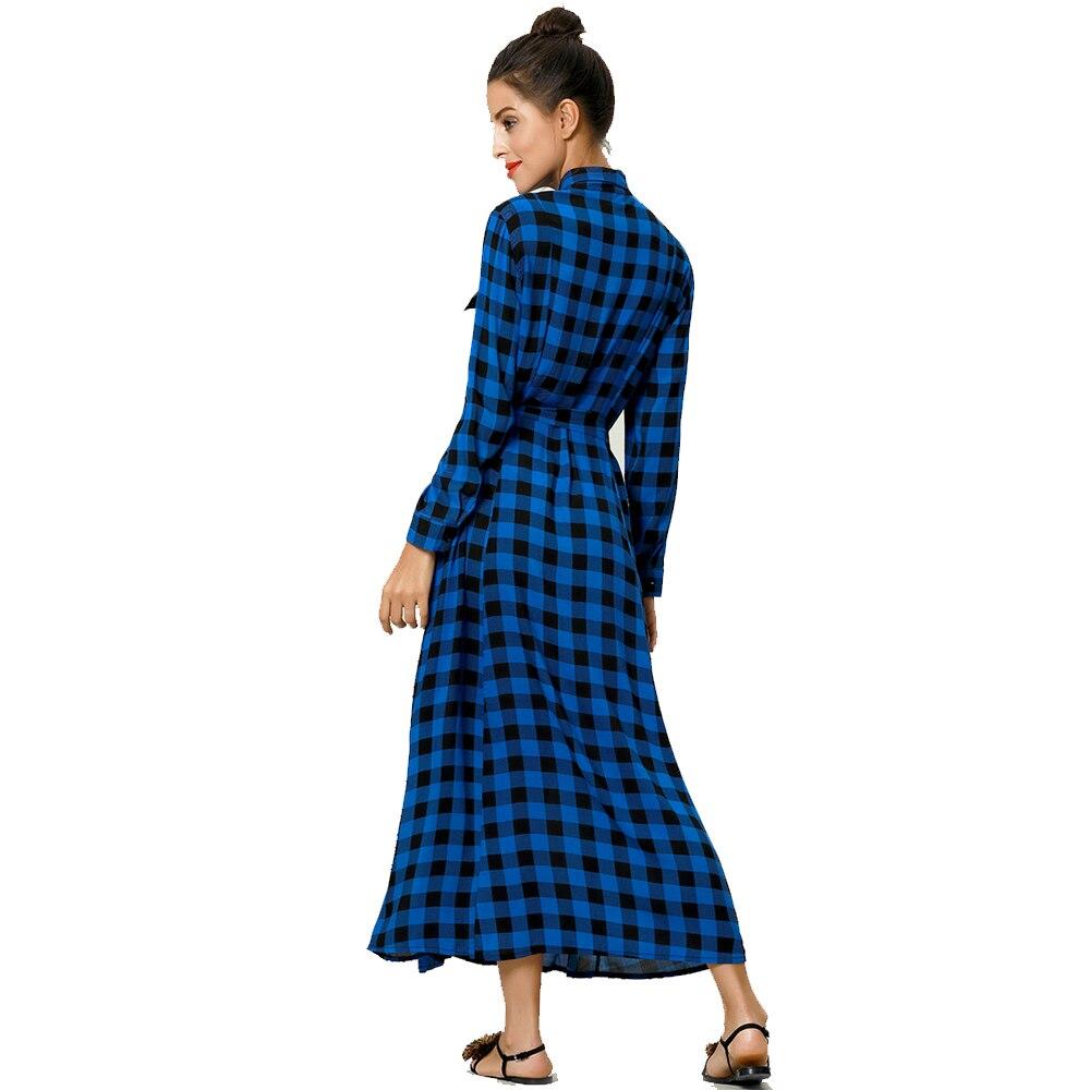 1245b7385fb Women Maxi Plaid Print Long Es Feminine Long Sleeve Shirt Muslim ...