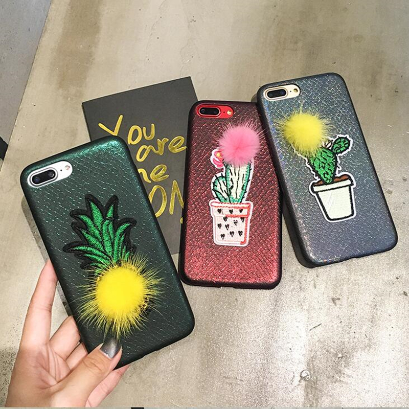 BINYEAE Embroidery Laser Phone Case For iPhone 7 Case Fur Ball Fruit Pineapples Plant Cactus Cover For iPhone X 10 8 7 6 6S Plus