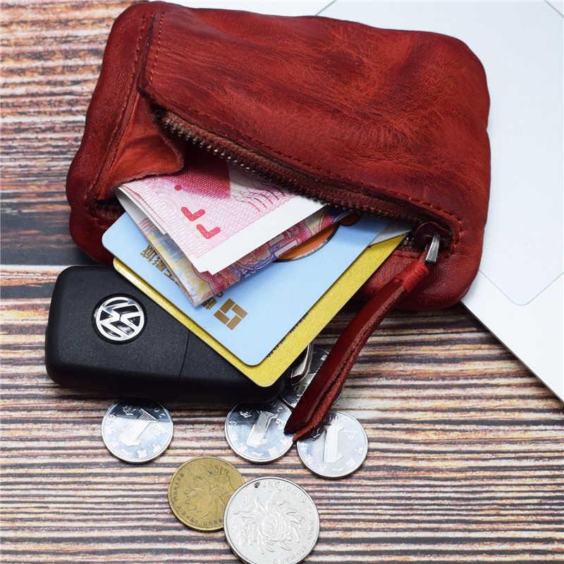 LEACOOL dos homens Do Vintage Genuíno Couro Mini Caso do Cartão Bolsa Da Moeda Titular Embreagem Carteira Masculina Curto Zíper Pequena Mudança Saco