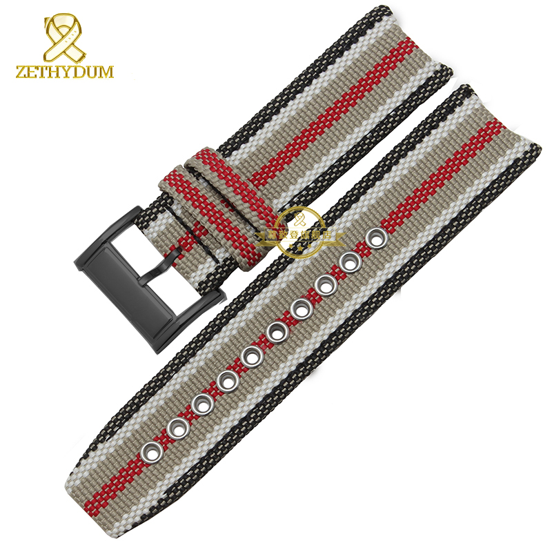 Nylon Watchband British Fashion Style Watch Strap Bottom Genuine Leather Bracelet 22mm Watch Band Accessories For BU7600 BU7601