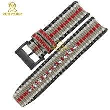 Nylon bracelet style de la mode Britannique montre fond de la sangle en cuir véritable bracelet 22mm bande de montre accessoires pour BU7600 BU7601