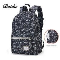 BAIDA Moda Floral Print Plecak Kwiat Wzór Kobiety Plecak Szkoły Bookbag Czarne Worki dla Nastolatek